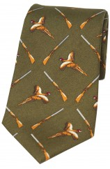 Soprano Country Green Flying Pheasant and Shotgun Country Silk Tie