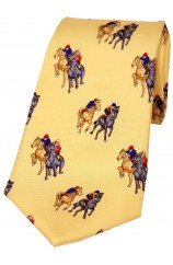 Soprano Final Furlong On Yellow Ground Country Silk Tie