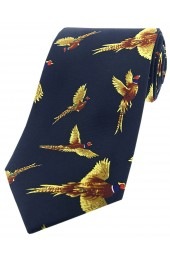 Soprano Flying Pheasants On Navy Ground Country Silk Tie