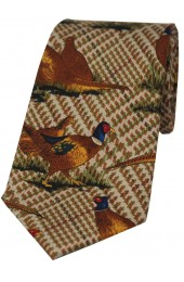 Soprano Standing Pheasants On Tweed Ground Country Silk Tie