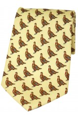 Soprano Standing Partridge On Yellow Background Country Silk Tie