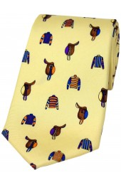 Soprano Racing Colours and Saddles On Pastel Ground Country Silk Tie