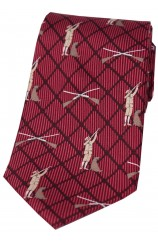 Soprano Hunter and Labrador On Wine Checked Ground Country Silk Tie