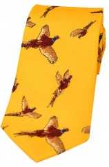 Soprano Flying Pheasants Gold Ground Country Silk Tie