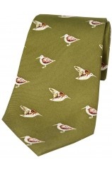 Soprano Standing Woodcock On Country Green Ground Country Silk Tie