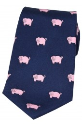 Soprano Pink Pigs On Navy Blue Ground Country Silk Tie