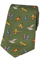 Soprano Country Birds On Country Green Ground Country Silk Tie