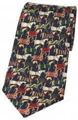 Soprano Jousting Medieval Horses On Navy Ground Country Silk Tie