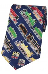 Soprano Multi Coloured Steam Trains Silk Ties