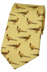 Soprano Standing Pheasants On Yellow Ground Country Silk Tie