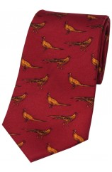 Soprano Standing Pheasants On Red Ground Country Silk Tie