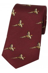 Soprano Flying Pheasant On Wine Ground Country Silk Tie