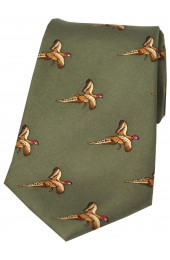 Soprano Flying Pheasants Country Green Ground Country Silk Tie