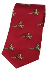 Soprano Flying Pheasant On Red Ground Country Silk Tie