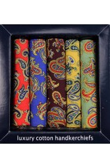 Soprano 5 Colour Paisley Design Cotton Pocket Square Set