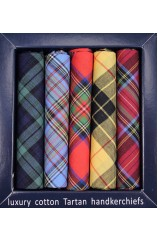 Soprano 5 Pack Popular Tartan Patterned Cotton Pocket Squares