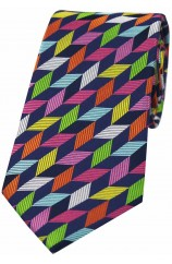 Posh And Dandy Multi Coloured Geometric Shapes Luxury Silk Tie