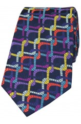 Posh And Dandy Intertwining Multi Coloured Ropes Luxury Silk Tie