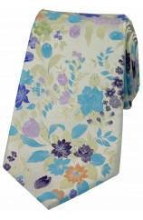Posh And Dandy Pastel Coloured Flowers Luxury Silk Tie