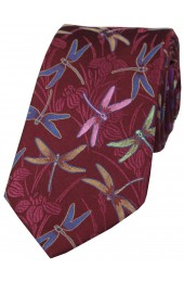 Posh And Dandy Wine Dragon Fly Pattern Luxury Silk Tie