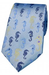 Posh And Dandy Blue Multi Coloured Sea Horses Silk Tie
