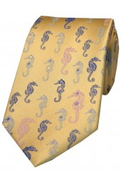 Posh And Dandy Gold Multi Coloured Sea Horses Silk Tie