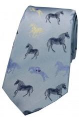 Posh And Dandy Sky Blue Multi Coloured Horses Silk Tie