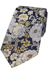 Posh and Dandy Gold And Silver Floral Silk Tie