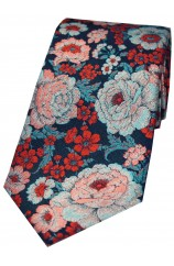 Posh and Dandy Multi Coloured Small And Large Flowers Silk Tie