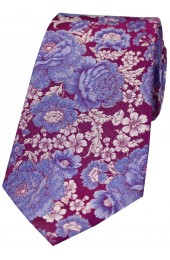 Posh and Dandy Shades Of Cerise And Blue Lilac Floral Silk Tie
