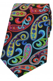 Posh And Dandy Large Multi Coloured Paisley Luxury Silk Tie