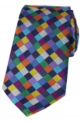 Posh and Dandy Luxury Multi Coloured Small Squares Silk Tie