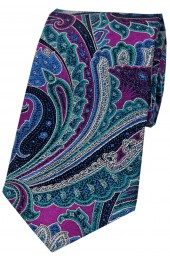 Posh And Dandy Large Edwardian Multi Coloured Paisley Silk Tie