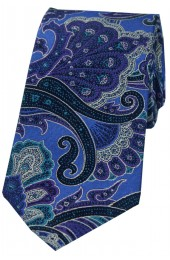 Posh And Dandy Large Edwardian Blue Purple Green Paisley Silk Tie