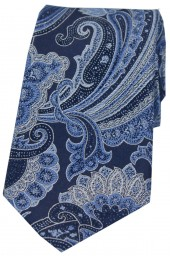 Posh And Dandy Large Edwardian Navy Blue Paisley Silk Tie