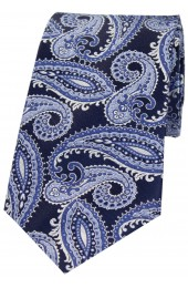 Posh And Dandy Navy And Blue Classic Paisley Silk Tie