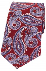 Posh And Dandy Red And Blue Classic Paisley Silk Tie