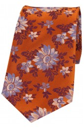Posh And Dandy Burnt Orange Floral Silk Tie