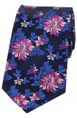 Posh And Dandy Dark Navy Fuchsia Flowers Silk Tie