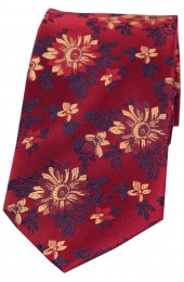 Posh & Dandy Maroon Ground With Red Wine Gold Flowers Tie