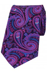 Posh & Dandy Luxury Navy Ground With Magenta Swirly Paisley Silk Tie