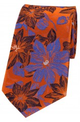 Posh & Dandy Orange And Blue Large Flowers Silk Tie