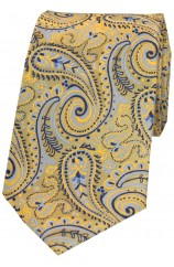 Posh & Dandy Luxury Gold Swirly Paisley Silk Tie