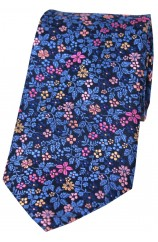 Posh & Dandy Italian Design Navy Blue Ground With Multi Coloured Flowers Silk Tie