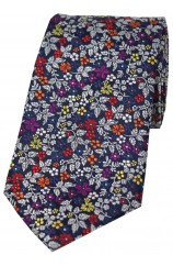 Posh & Dandy Italian Design With Multi Coloured Small Flowers Silk Tie
