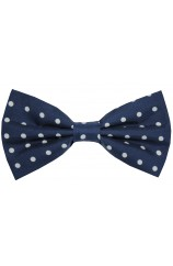 Soprano Navy And White Polka Dot Silk Pre Tied Bow Tie
