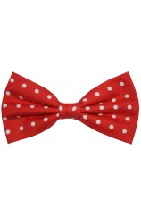 Soprano Red And White Polka Dot Silk Pre Tied Bow Tie