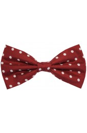 Soprano Wine And White Polka Dot Silk Pre Tied Bow Tie