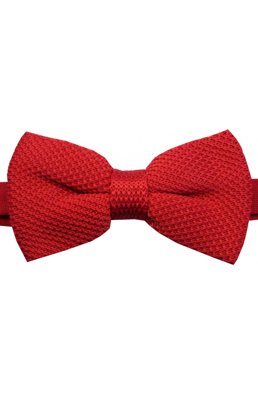 af4bd15d2073 Soprano Pre-tied Plain Red Knitted Polyester Bow Tie