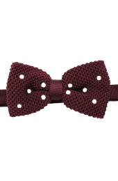Soprano Pre-tied Wine Polka Dot Knitted Polyester Bow Tie